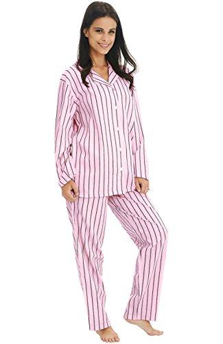 Del Rossa Women's Cotton Pajamas, Long Woven Pj Set, Medium Pink and Black Striped (A0517P79MD)