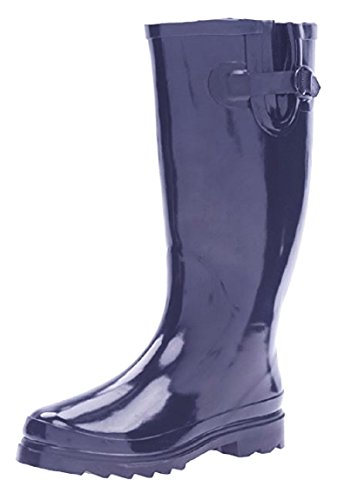 Shoes8teen Womens Basic Rain Boots W/Buckle Navy 10