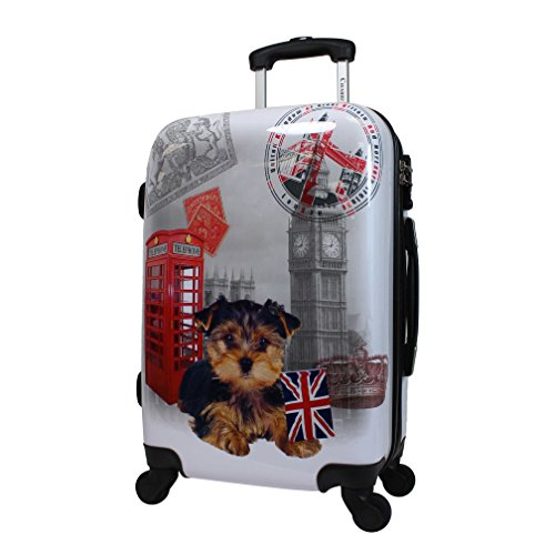 Classy Dog UK Adventurer Expandable Spinner Lightweight Luggage Suitcase, Fun Graphic Animal Print Theme, Hardsided, Hardshell, Multi Compartment, Fashionable Handle Travel Case, Brown, Grey, Size 20'' by S & E