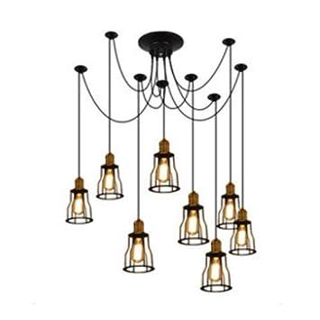 MJK Luces colgantes, lámpara de araña industrial clásica negra de ...