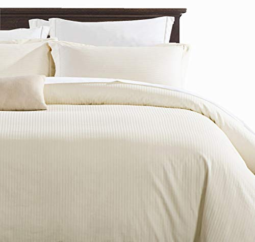 100% Damask Cotton Duvet Cover , Ivory Duvet Cover Queen Size, 400 Thread Count Sateen Weave, Luxury Pinstripe Pattern Royal Hotel Style Bedding, Silky Soft Breathable Durable and Skin ()