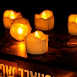 Tea Lights Led Timer (6 hours on, 18 hours off), Flameless Flicking Candles Amber Yellow 100pcs for Window, Wedding, Fireplace, Lantern, Craft project ( wax-drip )
