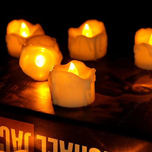 Youngerbaby 24pcs Amber Yellow Flickering Timing Tea Light Candles with Timer (6 Hrs on 18 Hrs Off) Flameless LED Tealights Wax Dripped Battery Operated Candles for Wedding Birthday Party Dinner