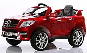 ML350 MERCEDES LICENSED 12V PAITED LEATHER SEAT AND RUBBER TYRES , REMOTE CONTEROL ,OPEN DOORS Red