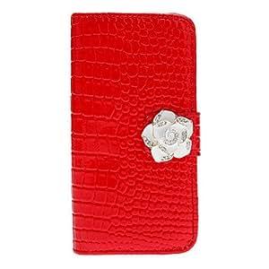 Cocodrilo patrón de la raya de caso completo del cuerpo con el botón Camellia Elegante y ranura para tarjeta para el iPhone 5/5S (colores surtidos) , Rojo
