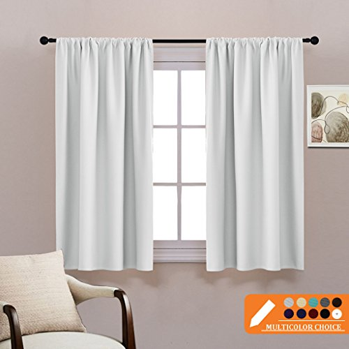 Black And White Window Treatments (Silver White Curtains Room Darkening - Thermal Insulated Window Treatments Home Decor Blackout Curtain Draperies Energy Efficient for Bedroom by PONY DANCE, 42
