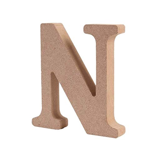 Andision Decorative Wood Letters, Hanging Wall 26 Letters Wooden Alphabet Wall Letter for Baby Name Girls Bedroom Wedding Brithday Party (N)