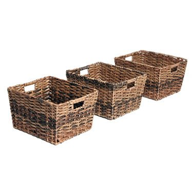 Seville Classics Decorative Woven Storage Baskets (Set of 3) sm