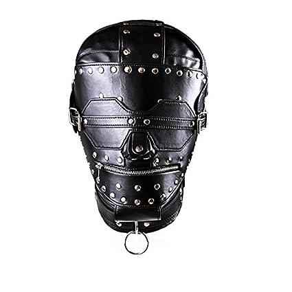 Juguetes sexuales máscara Sombrero de cuero Cerradura de cobre Multi-pin Parche Firme Bondage Mask