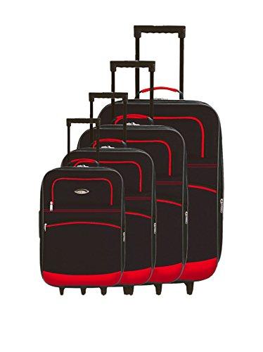 Negro de Challenger Set semirrígidos 4 trolleys Rojo 8qfSq