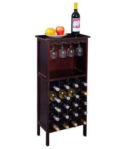 Wood Wine Holder - Wood Wine Cabinet Bottle Holder Storage Kitchen Home Bar w/ Glass Rack Wine Bottle Holder by Brand New