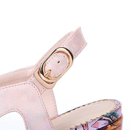 Amoonyfashion Kvinna Spänne Öppen Tå Höga Klackar Diverse Färg Sandaler Rosa