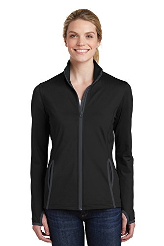 (Sport-Tek Sport-Wick Stretch Contrast Full-Zip Jacket (LST853) -Black/Char -M)