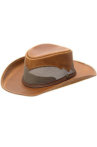 Durango Crushable Leather Breezer Gambler Hat, COPPER, Size XLARGE (23.75'' circumference) by Overland Sheepskin Co