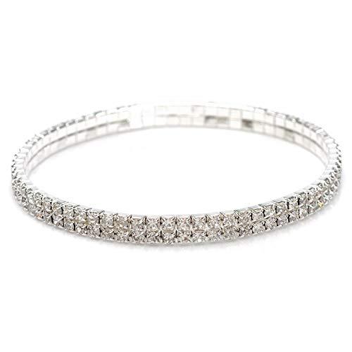 imixlot 2 Row Chain Sexy Rhinestones Stretch Anklet Bracelet for Women Lady