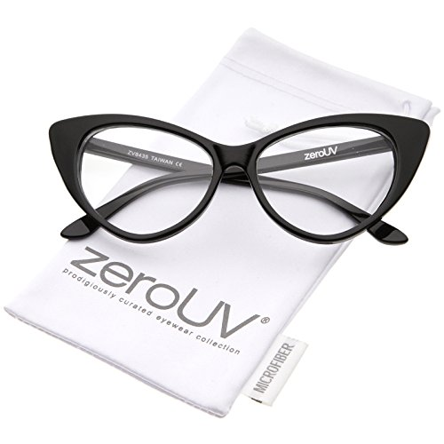 zeroUV - Retro High Sitting Temples Clear Lens Exaggerated Cat Eye Glasses 55mm (Black / - Eye Shaped Cat Glasses