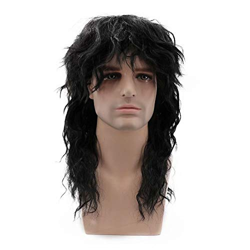 NiceLisa Masquerade Evening Party Cosplay Wig Mid-Length Black Curly 70s Rocker Anime Role Play Wigs