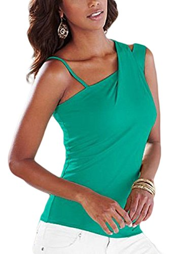 Elegante De Un Hombro Sin Mangas Mujer Bodycon Verano T Shirt Blusas Tops Green
