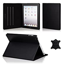 32nd Premium Leather Folio Case for Apple iPad Air 2 (iPad 6th Generation), Book Style Opening Luxury Italian Leather Flip Cover with Magnetic Closure- Black