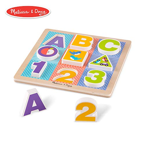 - Melissa & Doug First Play Wooden ABC-123 Chunky Puzzle (9 pcs)