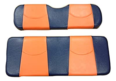 Kool Cushions™ Ccds2up-nvysunfr-01 -Custom Vinyl Golf Cart Seat Covers Front and Rear-navy with Sunset Stripe - For Club Car Ds 2000 and up Golf Cart ...