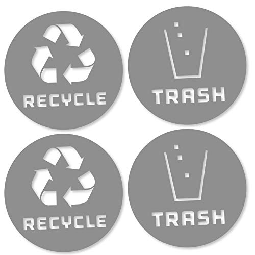 (4 Pack (4in x 4in) Recycle Logo and Trash can Sticker to Organize Your Trash - for Trash cans, Garbage containers and Recycle Bins - Premium Vinyl Decal (4in x 4in, Grey))