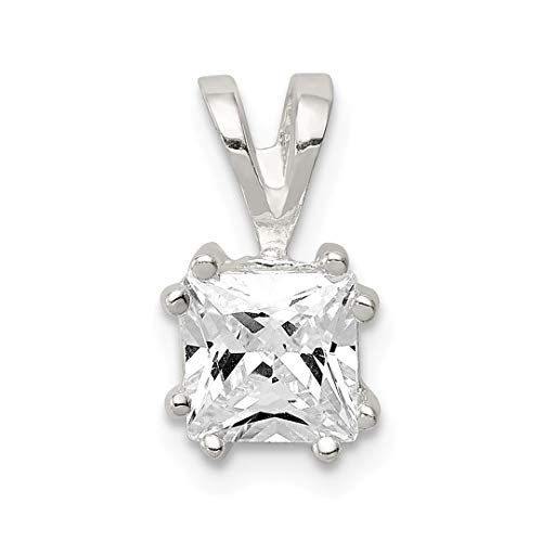 925 Sterling Silver Princess Cubic Zirconia Cz Pendant Charm Necklace Fine Jewelry Gifts For Women For Her