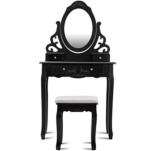 Make Your Room Back to Vintage Period with 360-degree Mirror a Vanity Set with Stool and Table 4 Drawers Storage Sturdy Solid Wooden Style Home Office Bedroom Dressing room Craftsmanship ()