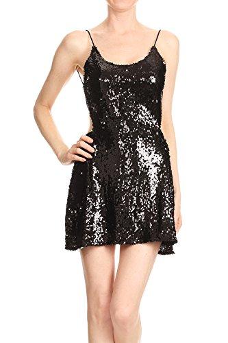 Anna-Kaci Womens Sexy Spaghetti Strap Sequin Camisole Backless Black Mini Dress, Black, (Beaded Spaghetti Strap Skirt)