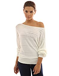 PattyBoutik Women\'s on / off one shoulder Semi-sheer Sweater (Ivory M)