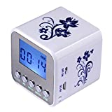 Haoponer Portable Mini Digital Display Screen Speaker USB Flash Drive Micro SD/TF Card Music MP3 Player FM Radio Blue and White Porcelain Plastic White/Blue-1