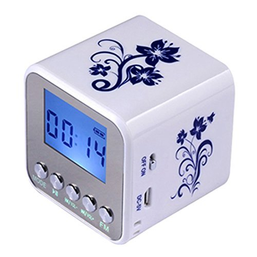 Haoponer Portable Mini Digital Display Screen Speaker USB Flash Drive Micro SD/TF Card Music MP3 Player FM Radio Blue and White Porcelain Plastic White/Blue-1 (First The Worst Second The Best Rhyme)