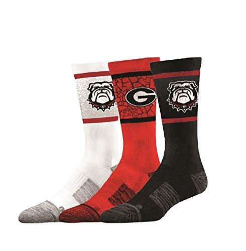 (Elite Fan Shop Georgia Bulldogs Socks 3-Pack - Mens (8-12) -)