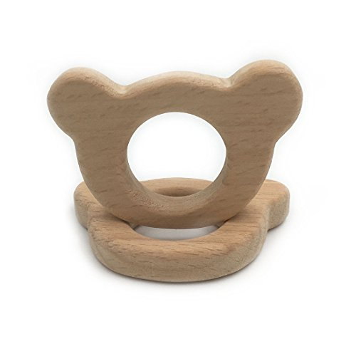 Amyster 2pcs Handmade Wooden Teether Bear Pendent Organic Natural Beech Wooden Toy Hand Cut Animal DIY Jewelry Making Accories