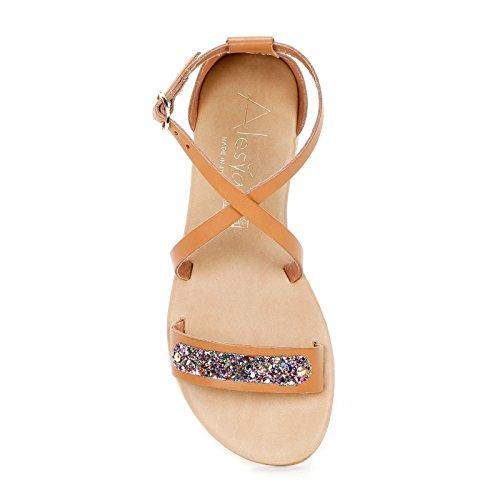 Et amp;scarpe Pailleté Scarpe Avec Croisées Basses Cuir Lanières Alesya By Sandales Détail En w8qv46EEO