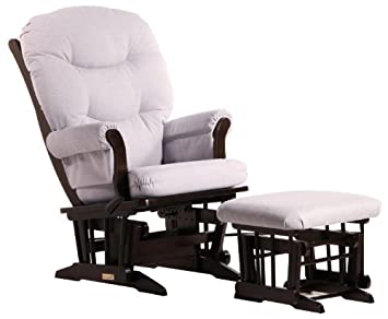 Dutailier Sleigh Glider-Multiposition, Recline and Ottoman Combo, Espresso Light Grey