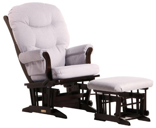 Dutailier Sleigh Glider-Glide/Lock/Recline with Nursing Ottoman, Espresso/Light Grey