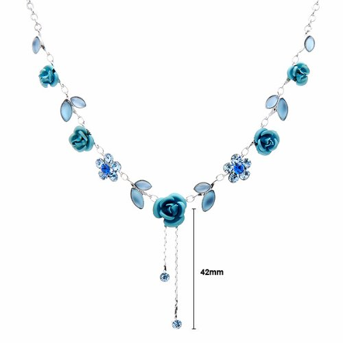 Glamorousky Elegant Rose Necklace with Blue Austrian Element Crystals 1029