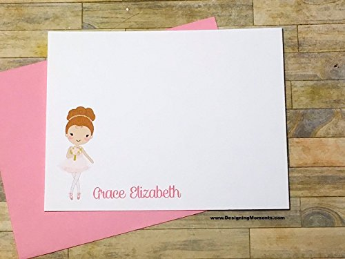 Ballerina Stationery - Personalized Ballet Note Cards - Ballerina Thank You Card Set - Ballet Cards - Ballerina Dance Cards (Ballerina Personalized Note)