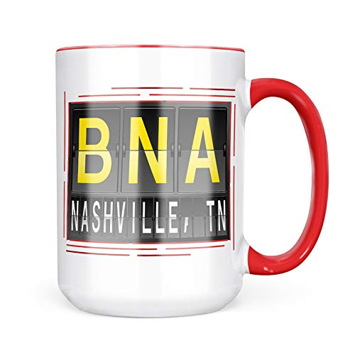Neonblond Custom Coffee Mug BNA Airport Code for Nashville, TN 15oz Personalized Name