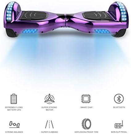 RCB Hoverboard Patinete Eléctrico Self Balancing Scooter de Auto-Equilibrio Luces LED Integradas con Hoverkart Go-Kart Bluetooth Regalo para Niños y ...