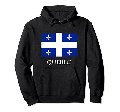 Unisex Quebec Hoodie, Canada Province Flag Sweatshirt XL: Black