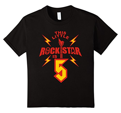 unisex-child 5th Birthday Girls Rockstar T-Shirt Rock Music 5 Year Old 6 Black (Rockstar Birthdays)