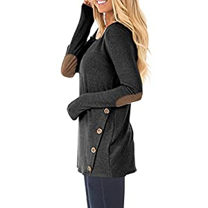 DAYSOFT Women Blocking Solid T-Shirt Tunic Hoodie, Loose Long Sleeve Pullover Sweatshirts With Buttons