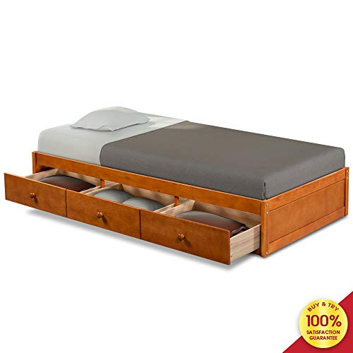 Twin Size Platform Bed Bookcase Daybed with 3 Drawers Storage World Furniture, Oak