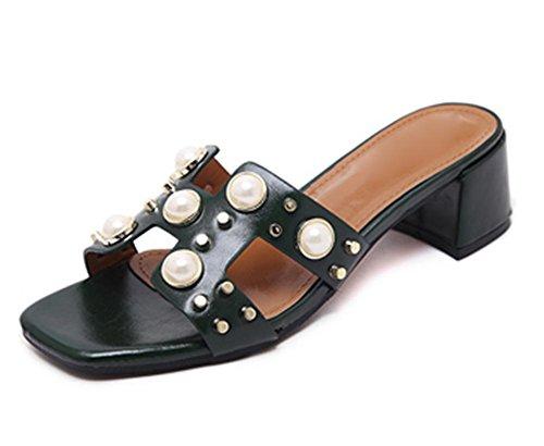 La Sra zapatillas con diamantes de imitación en sandalias mujer salvaje dulce gruesa con sandalias y zapatillas femenina palabra Green