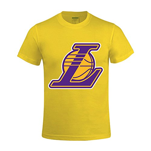 Ultimate College Sports Fan (NBA Angeles Lakers T Shirts For Men Crew Neck Yellow)