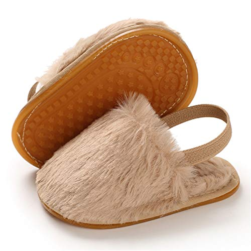 BENHERO Baby Girls Sandals Faux Fur Slides with Elastic Back Strap Flats Toddler Infant Prewalker Summer Shoes Slippers (0-8 Months M US Infant, B/Khaki)