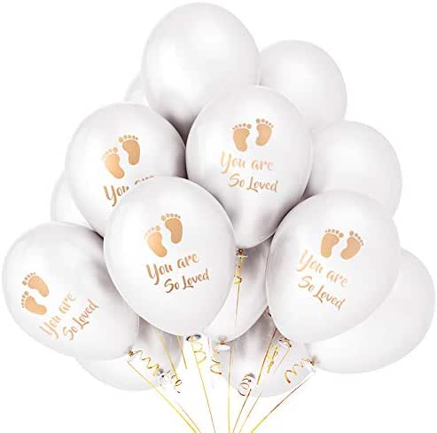 Set of 24 Newborn Baby Shower Helium Biodegradable Latex Balloon Gold Footprint White Paper Cocktail baptism Party for Neutral Gender Reveal Boy Girl You Are So Loved Ballon Party Invitation Photograp