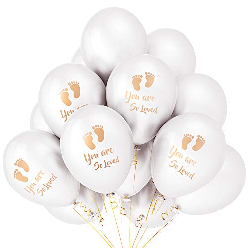 Design Personalized Announcement - Set of 24 Newborn Baby Shower Helium Biodegradable Latex Balloon Gold Footprint White Paper Cocktail baptism Party for Neutral Gender Reveal Boy Girl You Are So Loved Ballon Party Invitation Photograp
